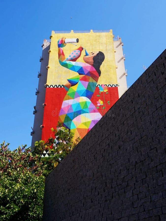 Grafitti målade på ett av mång--våningen husen i den spanska staden av Girona arkivbilder