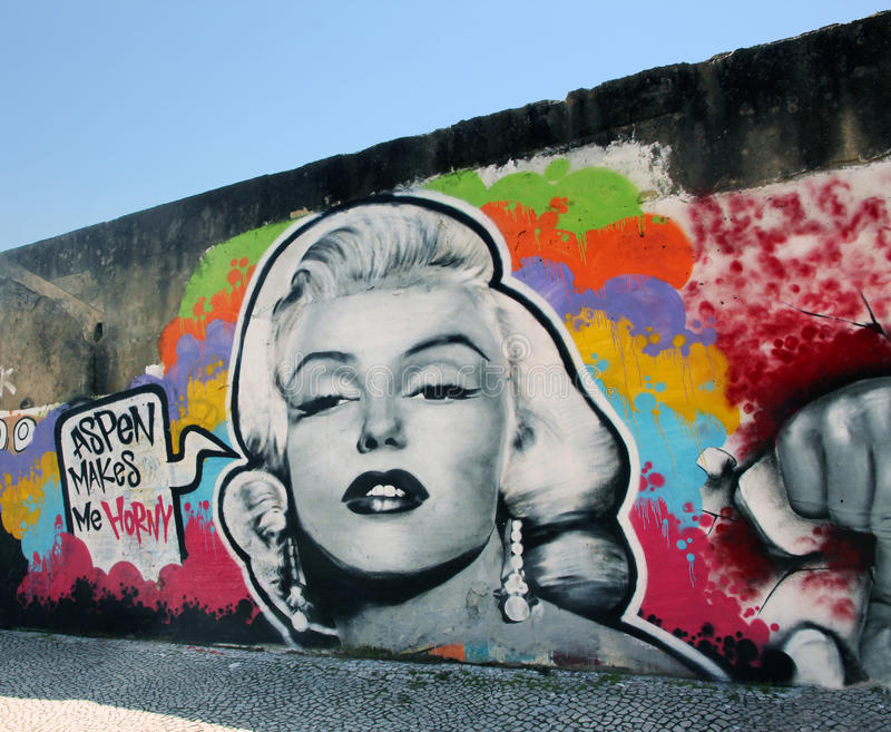 grafitti marilyn monroe royaltyfria foton