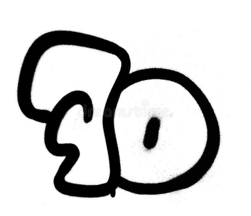 Grafitti numrerar 70 sjuttio som besprutas i svart över vit vektor illustrationer