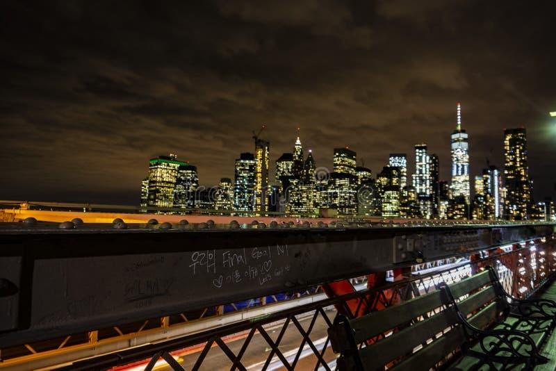 Grafitti på den Brooklyn bron i New York - USA royaltyfria bilder