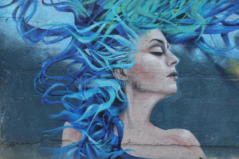 Grafitti planlägger med en kvinna och hennes blåa hår arkivfoto