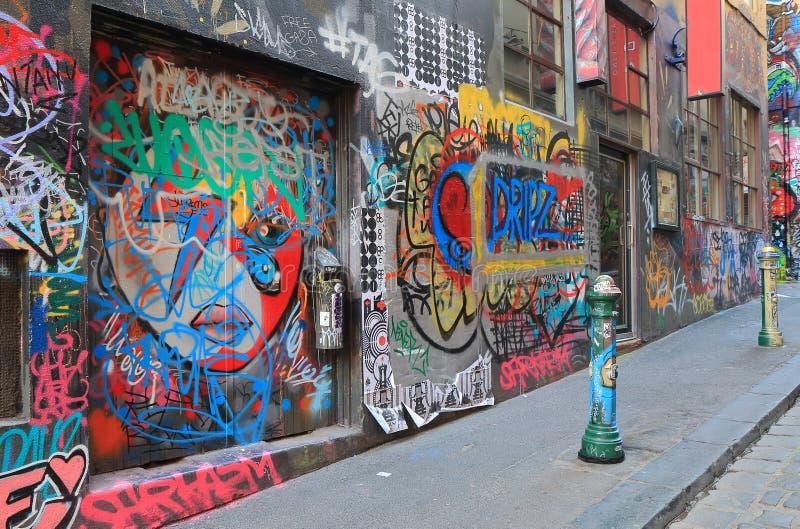 Grafittigatakonst Melbourne Australien royaltyfri fotografi