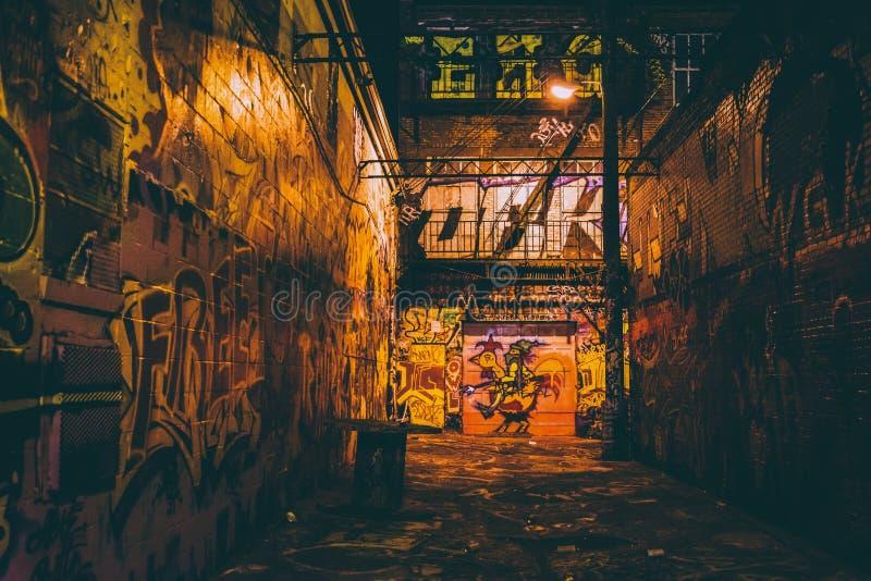 Grafittigränd på natten, i Baltimore, Maryland royaltyfri fotografi