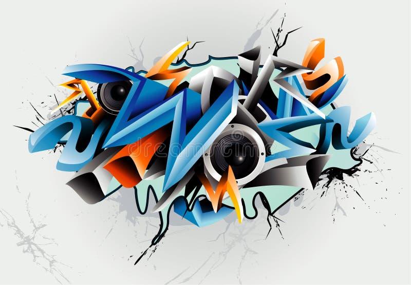 grafittiillustration stock illustrationer