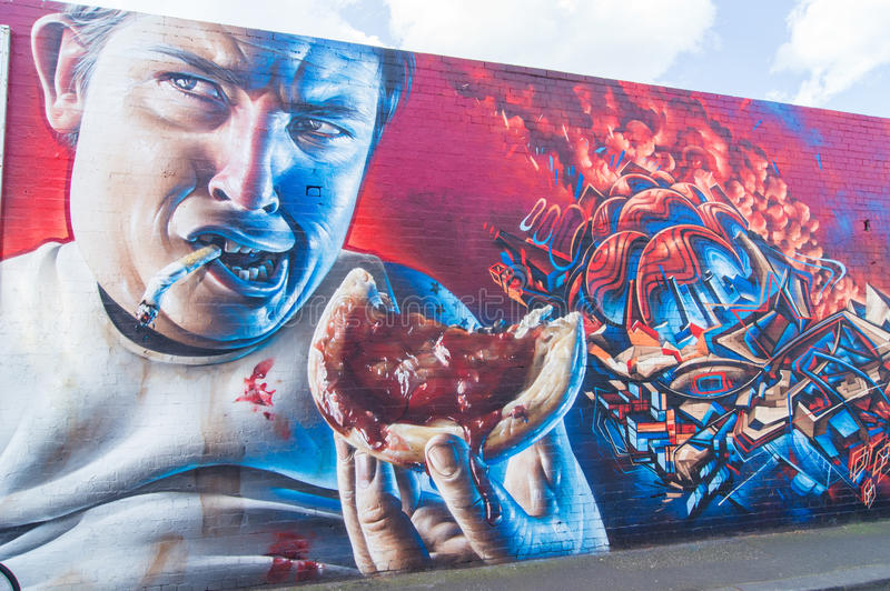 Grafittikonst av den Brunswick gatan i Fitzroy, Melbourne royaltyfri fotografi