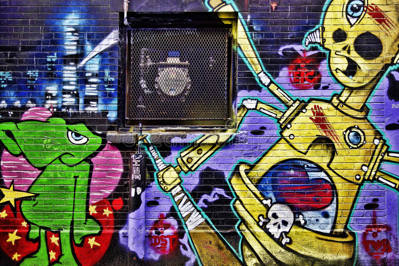 Grafittis coloridos da rua foto de stock royalty free