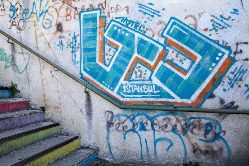 Grafittis da arte da rua em Istambul fotografia de stock royalty free