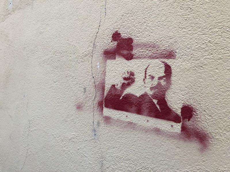 Grafittis da cidade e imagem de Lenin_s ilustração royalty free