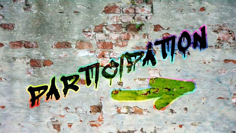 Grafittis da parede à participação foto de stock