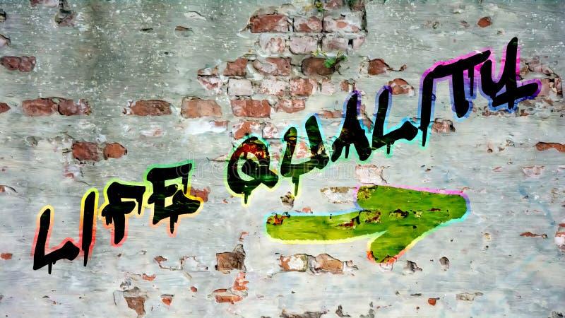 Grafittis da parede à qualidade da vida ilustração stock