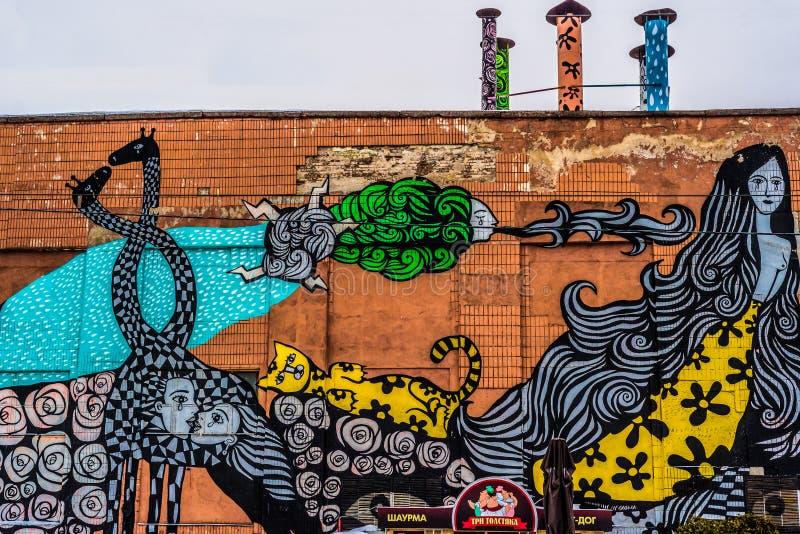 Grafittis da parede da rua em Minsk Bielorrússia foto de stock royalty free