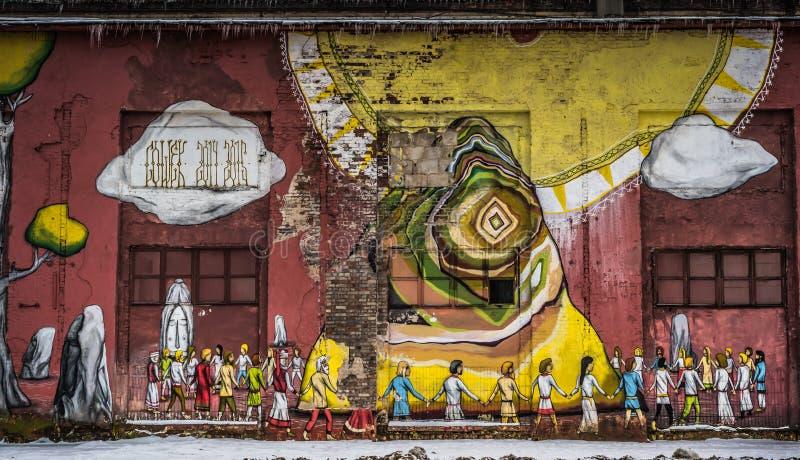 Grafittis da parede da rua em Minsk Bielorrússia fotografia de stock royalty free