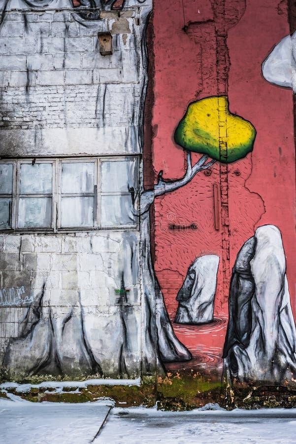 Grafittis da rua em Minsk, Bielorrússia imagens de stock royalty free
