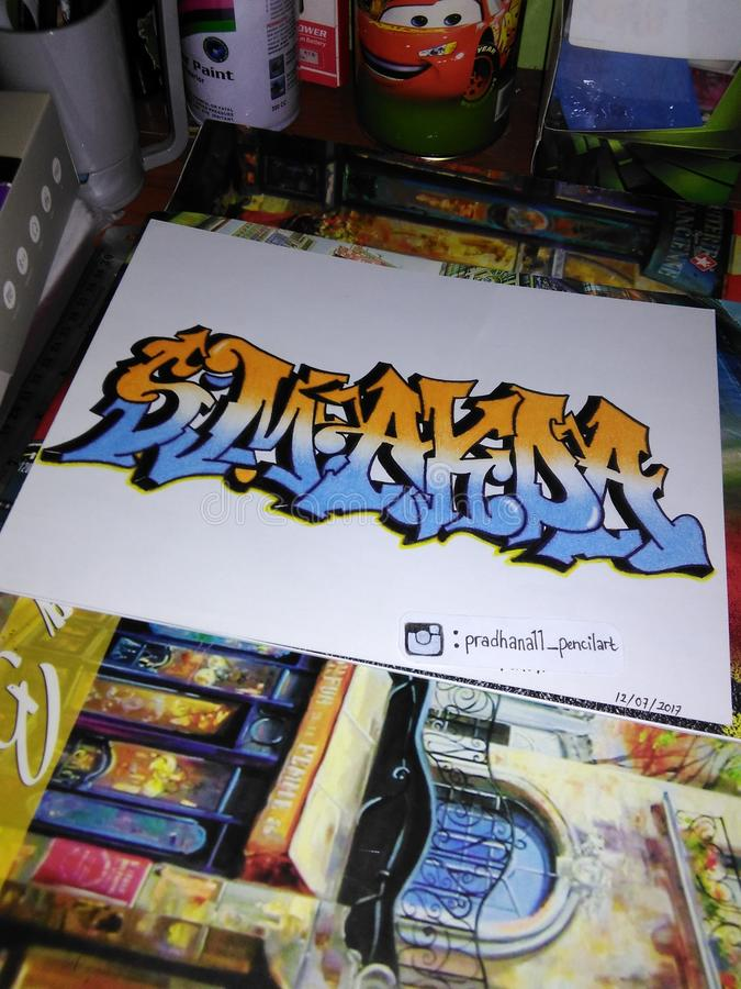 Grafittis de Smakda foto de stock