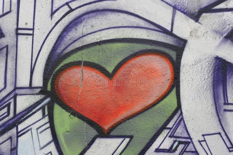 Grafittis do coração imagem de stock