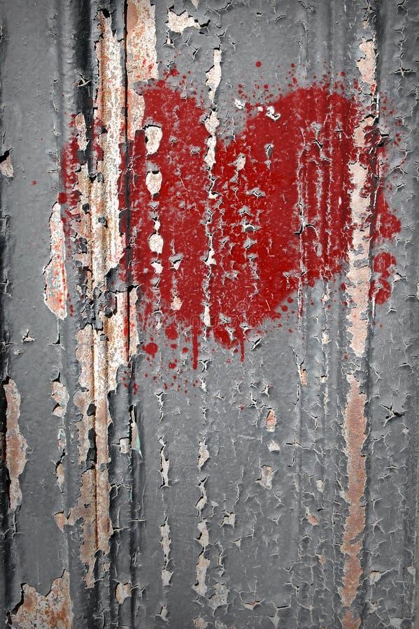 Grafittis do coração quebrado imagem de stock