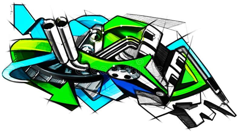 Grafittis do desenho no estilo da motocicleta ilustrado imagens de stock royalty free