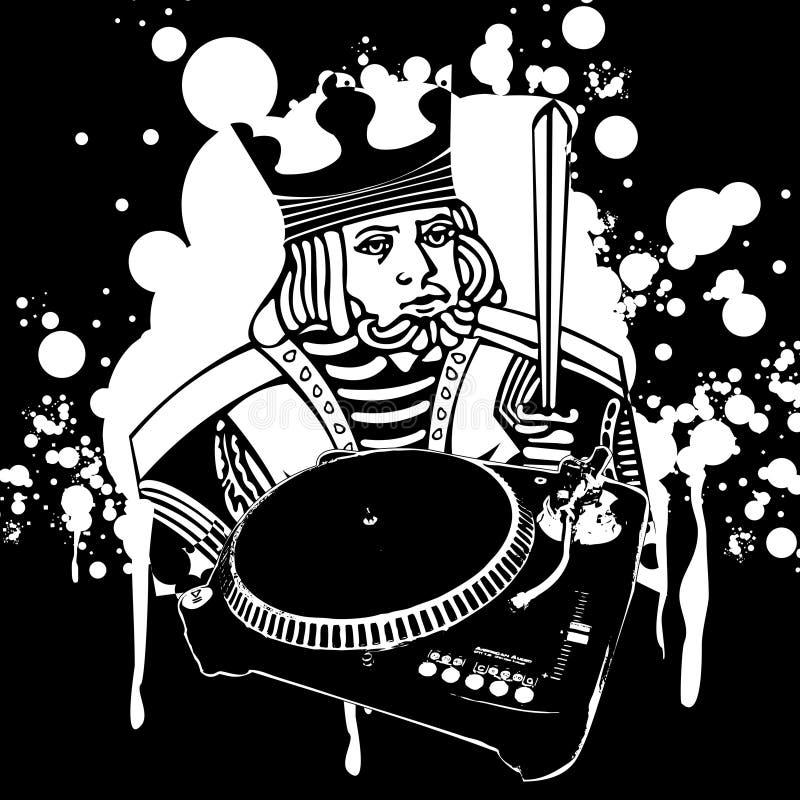 Grafittis do rei DJ ilustração royalty free