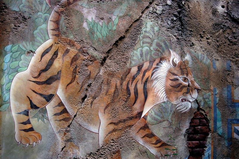 Grafittis do tigre foto de stock