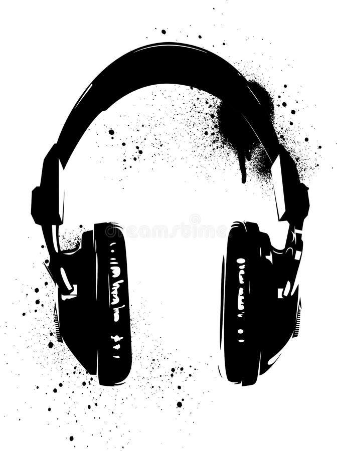 Grafittis dos fones de ouvido ilustração do vetor