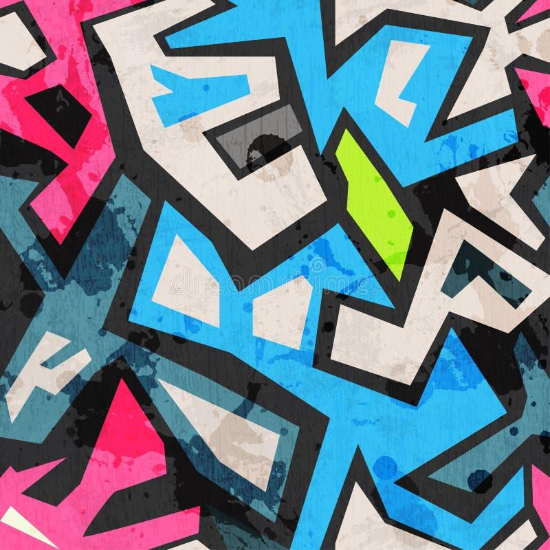 Grafittis industriais sem emenda com efeito do grunge ilustração do vetor