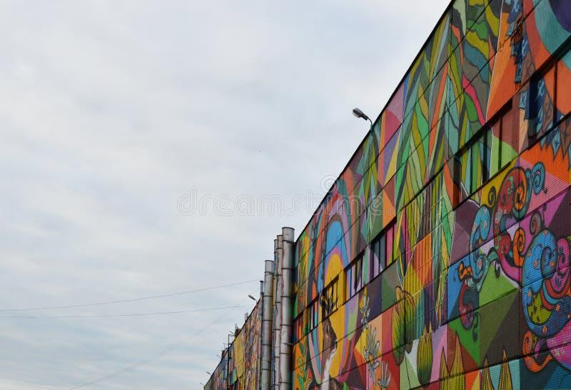 Grafittis Minsk da rua, Bielorrússia festival de Vulica Brasil do setembro de 2016 foto de stock