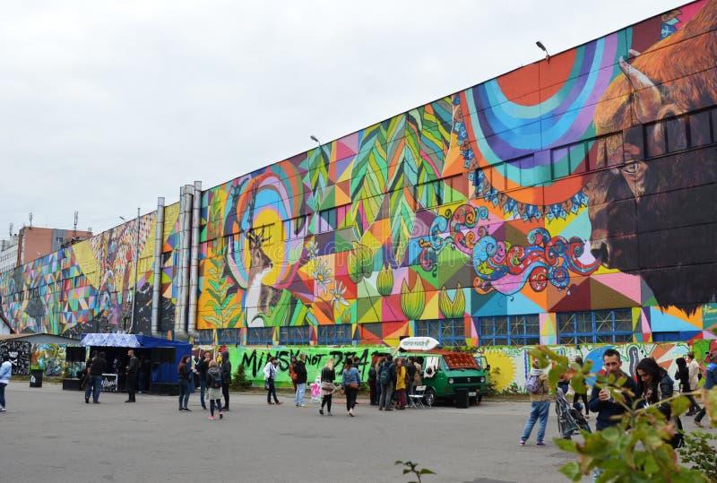 Grafittis Minsk da rua, Bielorrússia festival de Vulica Brasil do setembro de 2016 imagem de stock