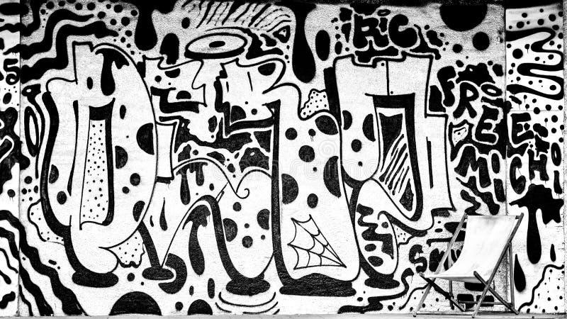 Grafittis preto e branco imagem de stock royalty free