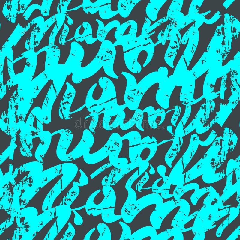 Grafittis sem emenda do teste padrão ilustração stock