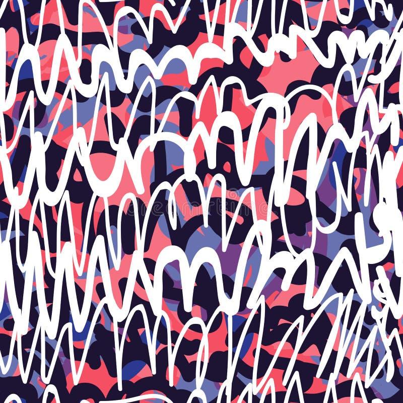 Grafittis sem emenda do teste padrão ilustração do vetor