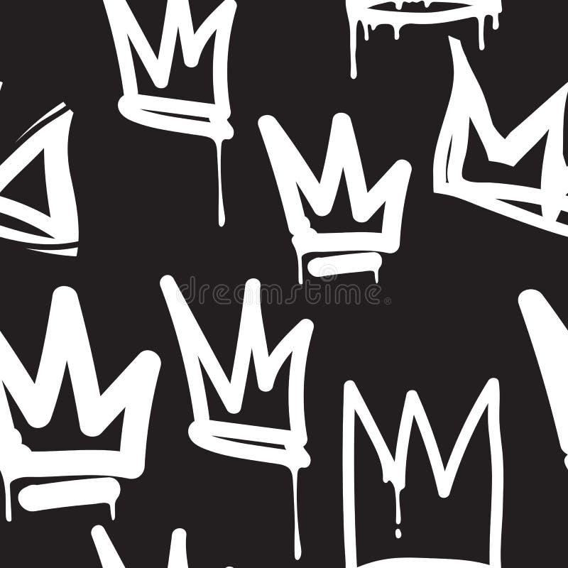 Grafittis sem emenda do teste padrão ilustração royalty free