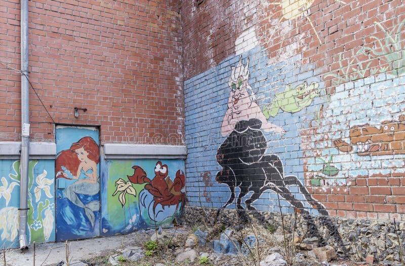 Grafittisjöjungfru royaltyfri foto