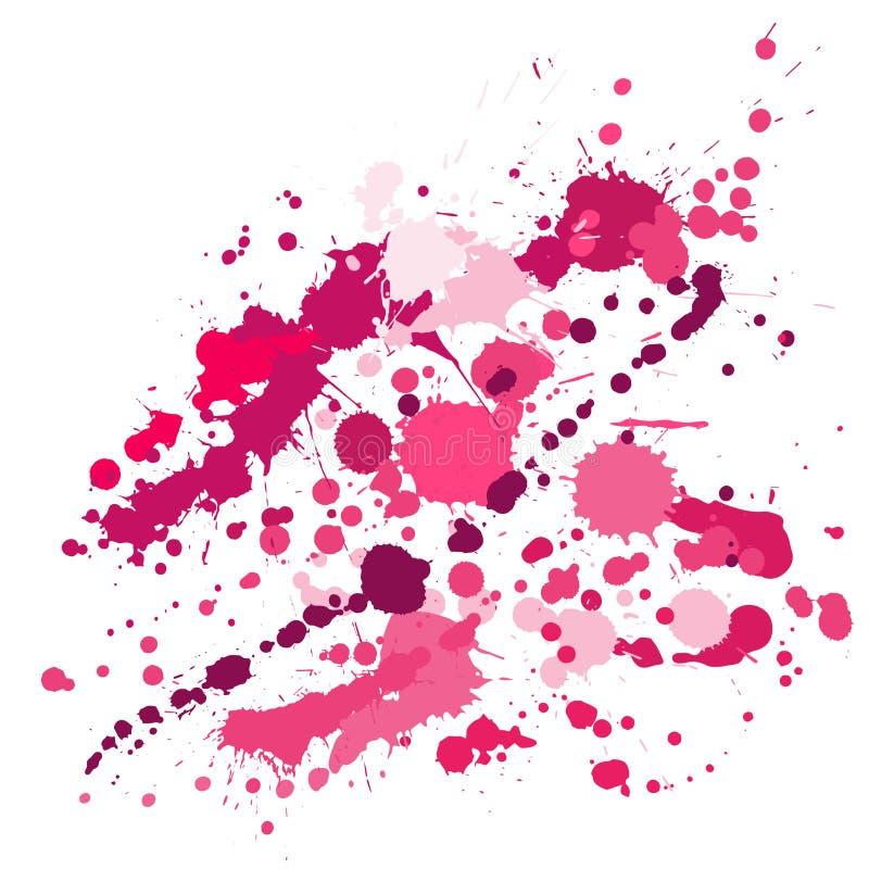 Grafittisprej befläcker grungebakgrundsvektorn Slumpmässigt färgpulver plaskar, besprutar fläckar, smutsiga fläckbeståndsdelar, v royaltyfri illustrationer