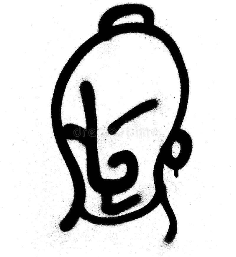 Grafittitecken som besprutas i svart på vit royaltyfri illustrationer