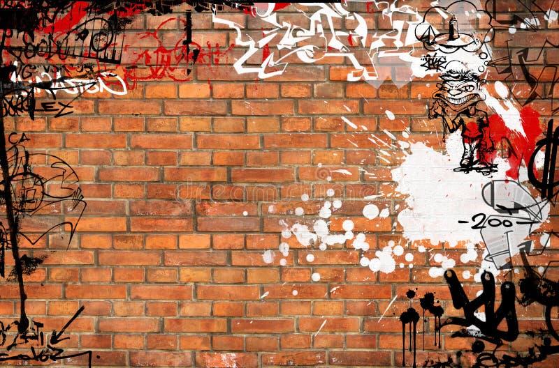 Grafittitegelstenvägg stock illustrationer