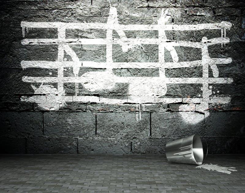 Grafittiväggen med musik noterar undertecknar, gatabakgrund stock illustrationer