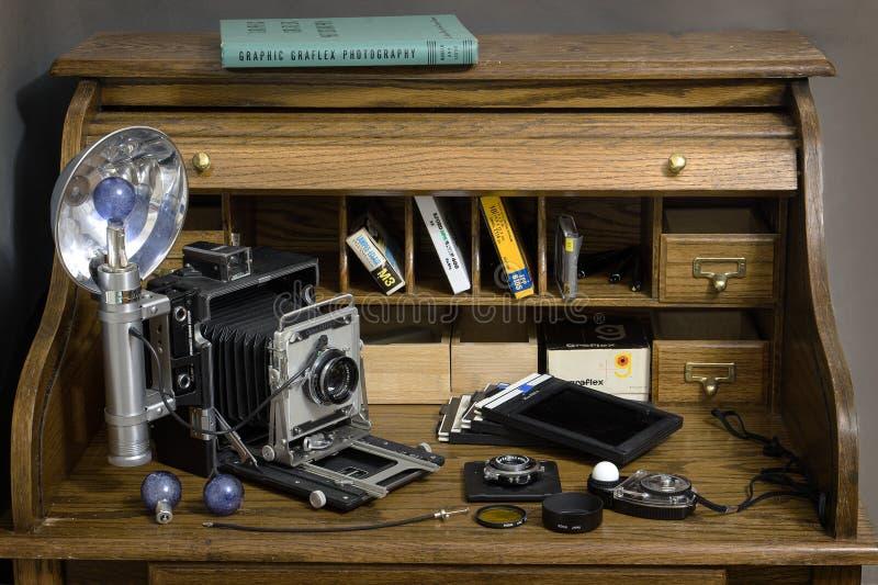 Graflex Crown Graphic ed accessori fotografia stock libera da diritti