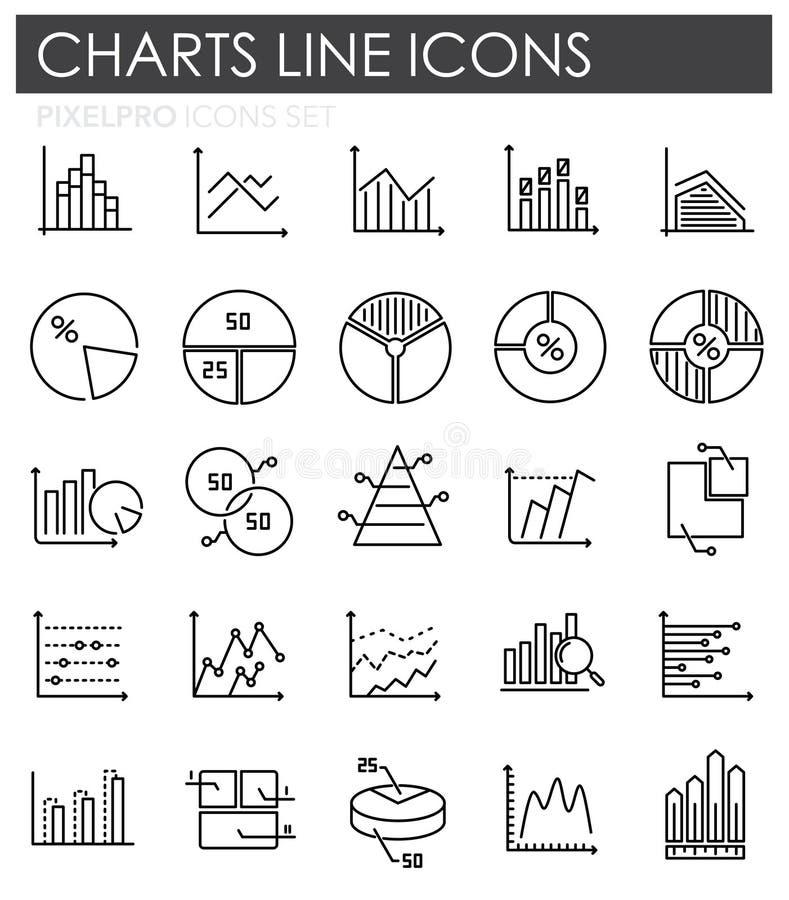 Graflinjen symboler ställde in på vit bakgrund för diagram och rengöringsdukdesign Enkelt vektortecken Internetbegreppssymbol för royaltyfri illustrationer