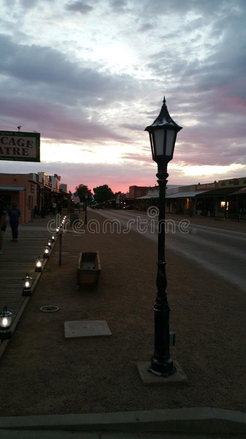 Grafsteen Arizona bij Zonsondergang stock afbeeldingen