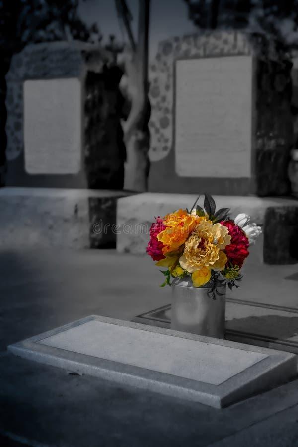 Grafsteen in begraafplaats - Halloween-samenstelling stock foto's