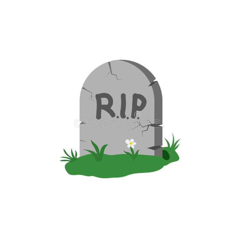 Grafsteen met gras en bloem met de inschrijving RIP Ontwerpelement op lichte achtergrond wordt geïsoleerd die royalty-vrije illustratie