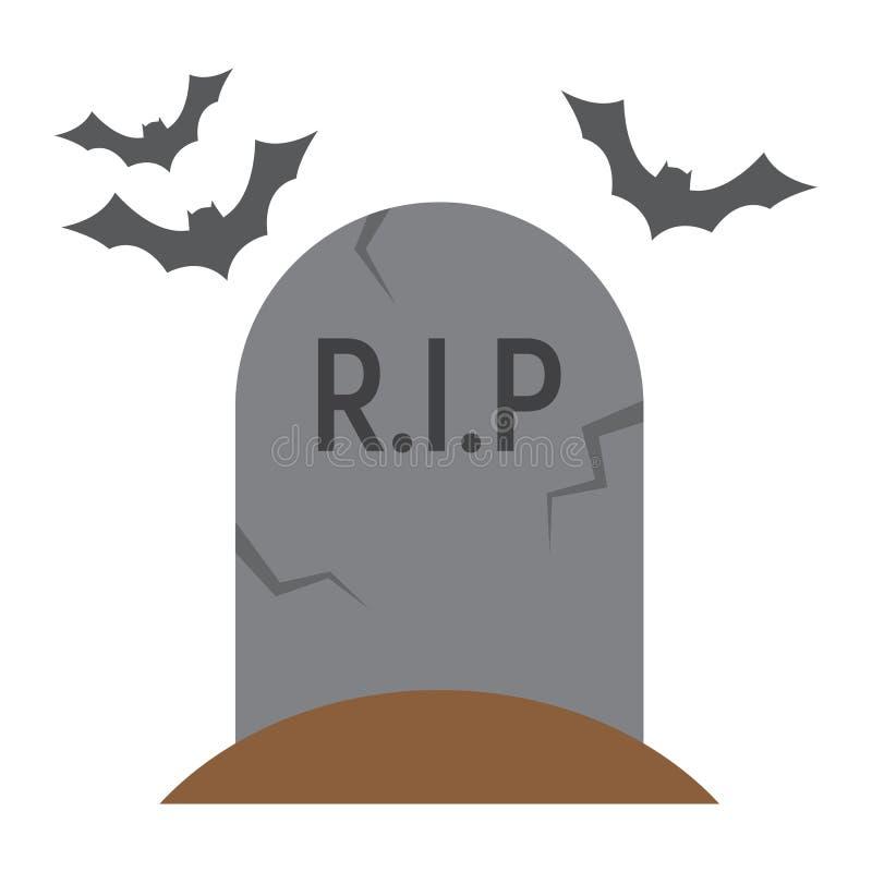 Grafsteen vlak pictogram, Halloween en eng, graf stock illustratie