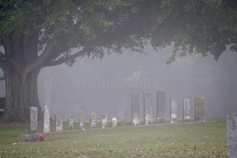 Grafstenen in de Mist royalty-vrije stock fotografie