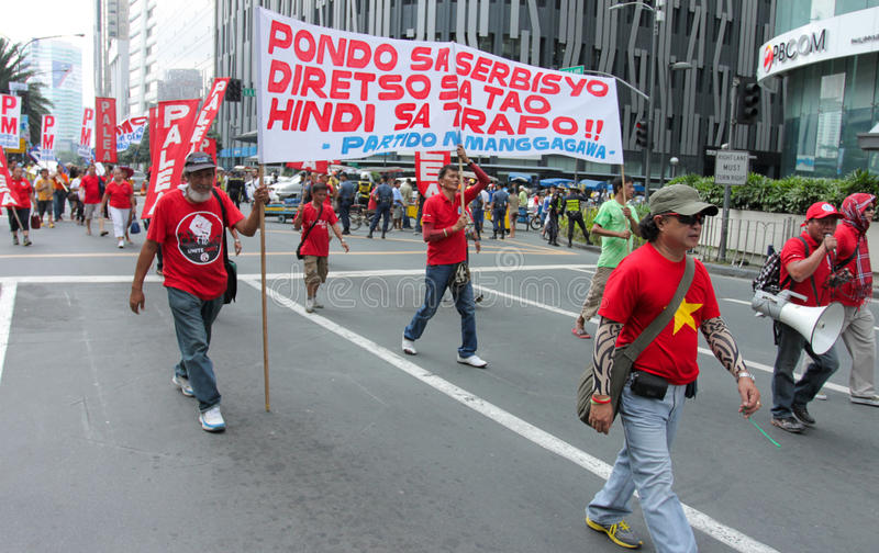 Graft and corruption protest in Manila, Philippines. Metro Manila, Philippines- October 4, 2013: Thousands of Filipinos marched in the Million People march in stock image