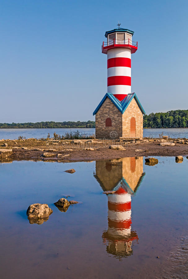 Grafton Lighthouse in Illinois. Though not a functional aid to navigation, the Grafton, Illinois Lighthouse stands to commemorate the Great Flood of 1993 which stock photo