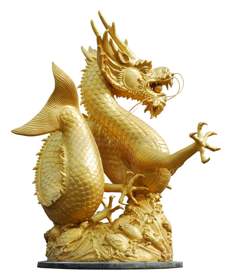 gragon złota statua fotografia stock