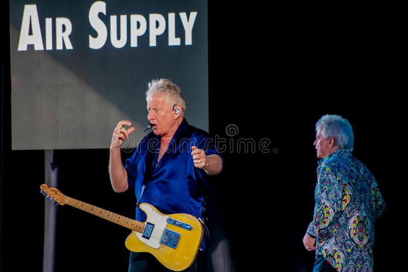Graham Rusell and Russell Hitchcock  from air supply, singing beautiful melody at Epcot in Walt Disney World  2. Orlando, Florida. March 26, 2019. Graham Rusell stock photo