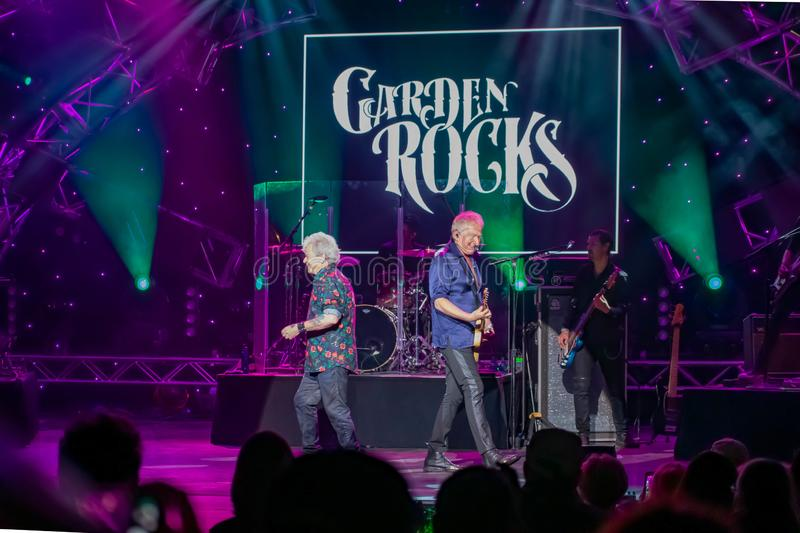 Graham Rusell and Russell Hitchcock  from air supply, singing beautiful melody at Epcot in Walt Disney World   4. Orlando, Florida. March 26, 2019. Graham Rusell stock image