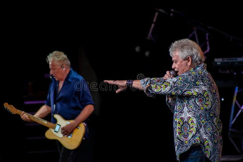 Graham Rusell and Russell Hitchcock  from air supply, singing beautiful melody at Epcot in Walt Disney World  7. Orlando, Florida. March 26, 2019. Graham Rusell royalty free stock photography