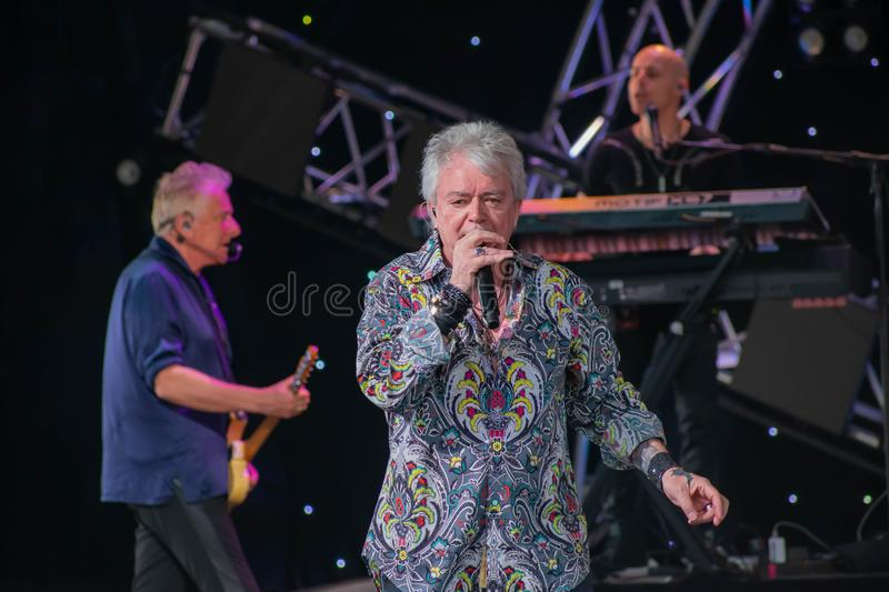 Graham Rusell and Russell Hitchcock  from air supply, singing beautiful melody at Epcot in Walt Disney World  1. Orlando, Florida. March 26, 2019. Graham Rusell royalty free stock photography